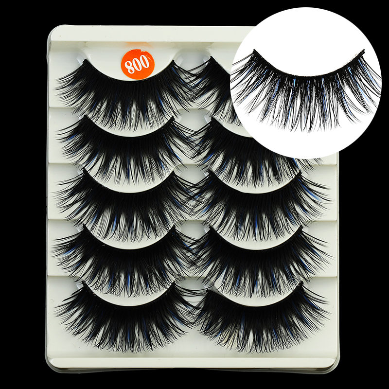 5 pairs blue color natural false eyelashes fake lashes makeup kit 3D Mink Lashes eyelash extension mink eyelashes maquiagem