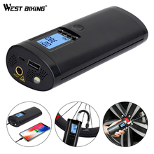 WEST BIKING Bike Electric Inflator Car Air Pressure Bicycle Pump Rechargeable Cycling Tire Pump MTB Road Bike Car Air Inflator 150psi electric bike air pressure pump mtb bicycle tire high press pump basketball bubble column car inflator light power bank