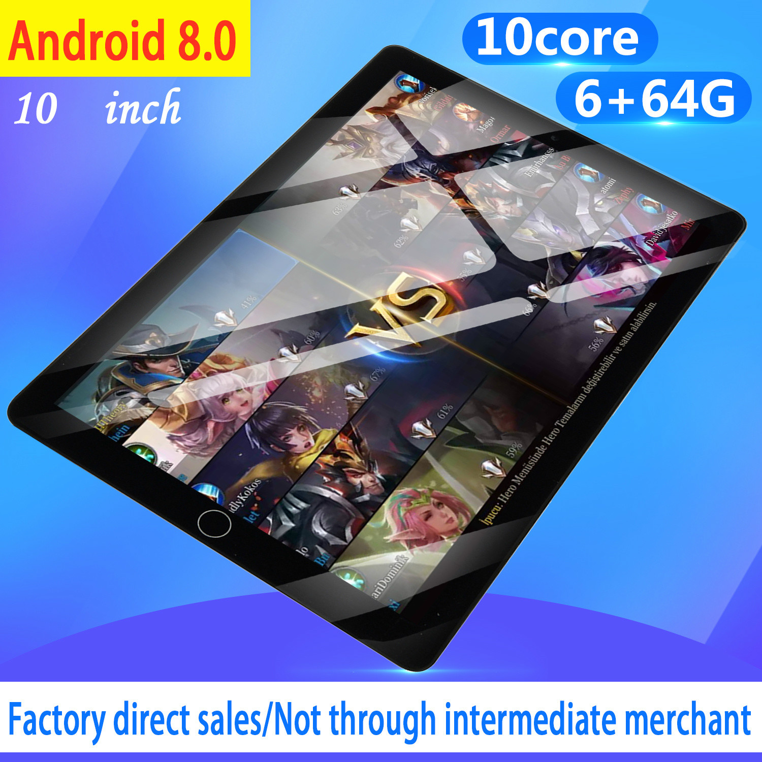 WiFi Tablet PC 12800*800 IPS Screen 10 Inch Ten Core 6G+64G Android 8.0 Dual SIM Dual Camera Tablet GPS Phone Pad 2020