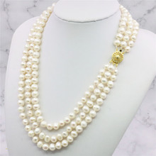 """3 Rows 7-8mm White Akoya Cultured Pearls Necklace Fashion Jewelry Making Design Hand Made Ornament Mother's Day gifts 17-21""""xu80"""