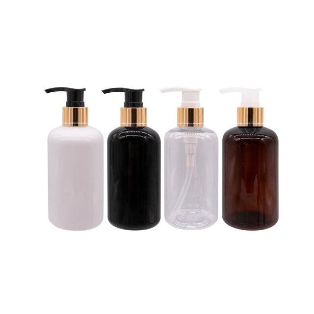 20 قطعة 250 مللي أبيض أسود البلاستيك غسول زجاجات الصابون السائل الذهب مضخة الحاويات للعناية الشخصية غسول زجاجة سائل استحمام