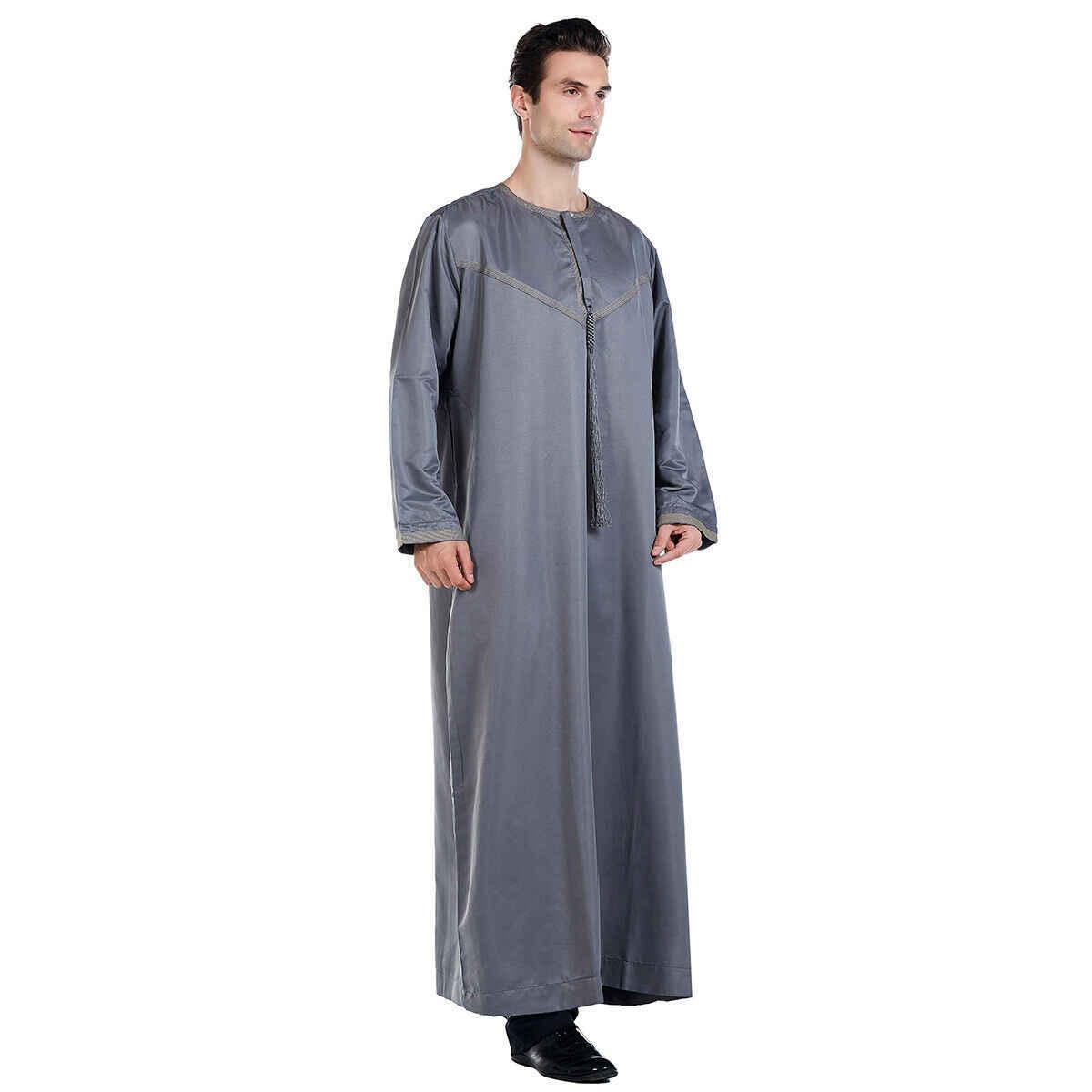 Mens Long Sleeve Muslim Cloting Irregular Saudi Abaya Kurta Shirts Kaftan Thobe