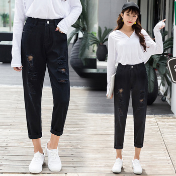 Mom Jeans Denim Crop Ankle Length White Black High Waisted Ripped Jeans For Women Vintage Ladies Boyfriend Baggy Loose Pants 019 4
