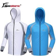 Queshark Men Anti UV z kapturem kolarstwo piesze wycieczki kurtki wędkarskie Quick Dry z długim rękawem oddychające koszulki sportowe do biegania