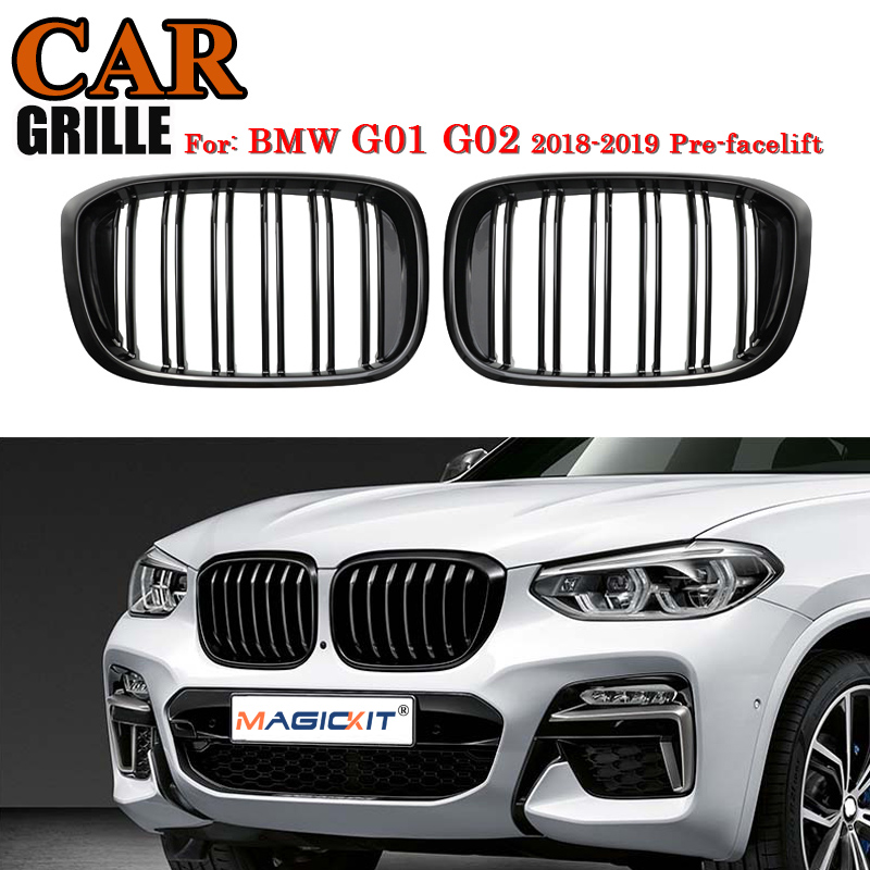 MagicKit Front Kidney <font><b>Grill</b></font> For <font><b>BMW</b></font> <font><b>G01</b></font> G02 Bumper Racing Grille <font><b>X3</b></font> X4 ABS Gloss Black Double Slate xDrive20i xDrive30i 18-19 image