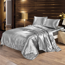 100% pure satin bedding sets comforter bed set pillow  duvet cover sheet Quilt Single/Double/Queen Size Quilted