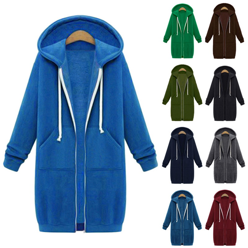 Women Sweatshirt Jacket Long Hooded Zipper Casual Oversized Fashion Solid Drawstring Streetwear Women Hoodies Chaquetas