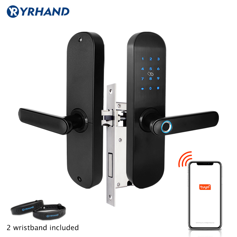 Tuya App Electronic Fingerprint Door Lock  WIFI Smart Touch Screen Lock Digital Code RIFD Card Keypad  For Home Security