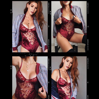 Cryptographic Fashion Backless Embroidery Women Strap Bodysuits Sexy Patchwork Lace Female Jumpsuits 2019 New Women Clothing 1