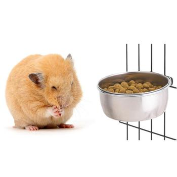 Stainless Steel Cage Coop Hook Cup Bird Parrot Feeding Cups Cage Hanging Bowl Bird Coop Cups Seed Water Food Dish Feeder Bowl 5