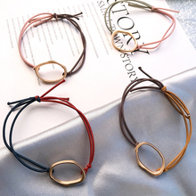 Fashion Women Simple Sweet Hairdressing Geometric Metal Ring Different Color Rope for Girls Ponytail Holder