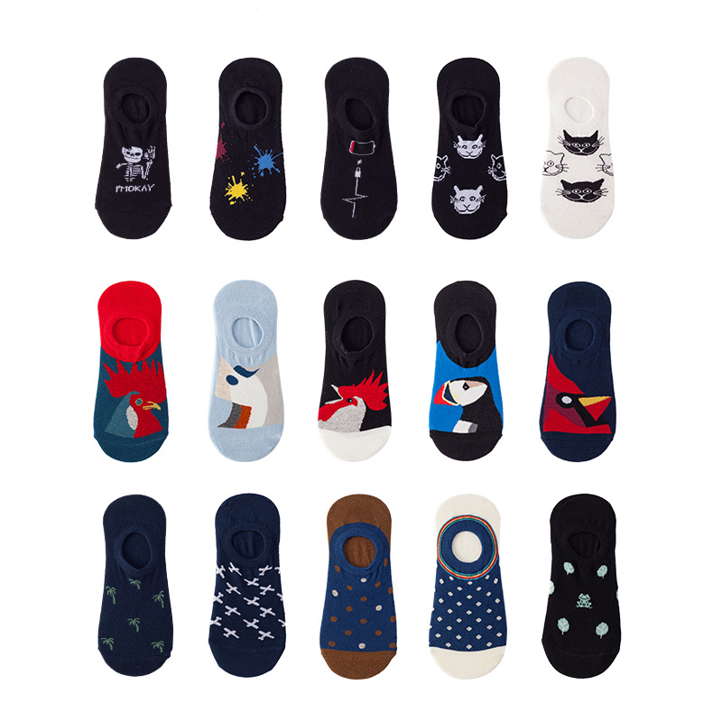 3 Pairs/Pack Unisex Size 36-44 Boat Socks Men Cotton Invisible No Show Silicone Anti Slip
