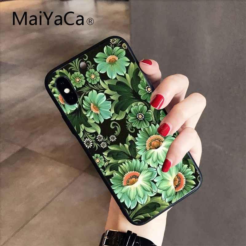 MaiYaCa Khokhloma russe motif fleur nouvellement arrivé téléphone étui pour iphone 8 7 6 6S Plus X XS MAX 5 5S SE XR 10 couverture Capa