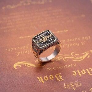 Image 4 - בציר דתי טבעת האיסלאם איראן Faravahar Ahura מאזדה טבעות זהב צבע הזורואסטרית טבעת גברים זכר היפ הופ תכשיטי מתנות