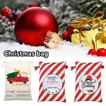 Large Christmas Bag Santa Sack Canvas Reusable Candy Storage Gift for Children 27*19in