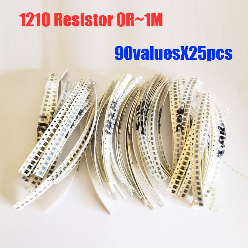 <font><b>1210</b></font> <font><b>SMD</b></font> <font><b>Resistor</b></font> 90valuesx25pcs=2250pcs <font><b>Resistor</b></font> Kit 0R~1M Assorted Kit image