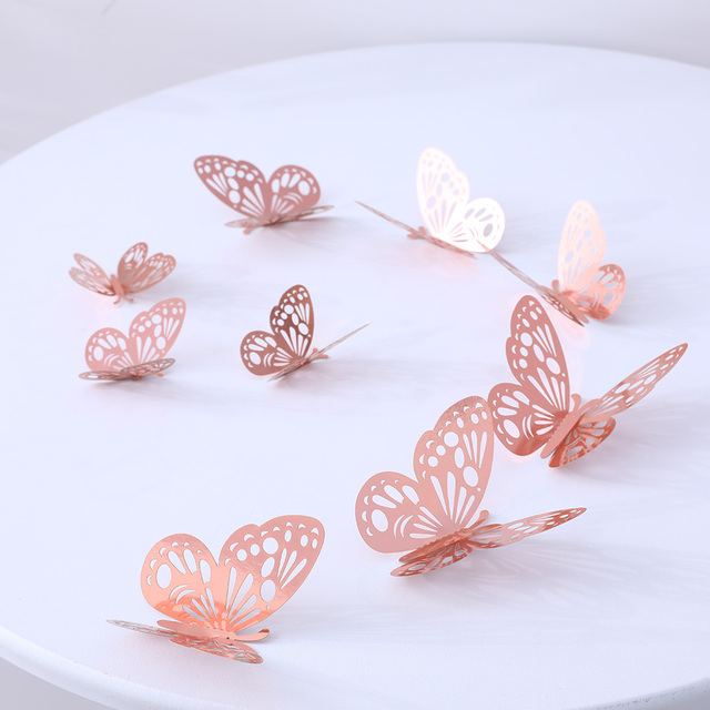 12Pcs 4D Hollow Butterfly Wall Sticker DIY Home Decoration Wall Stickers wedding Party Wedding Decors Butterfly Kids Room Decors 4