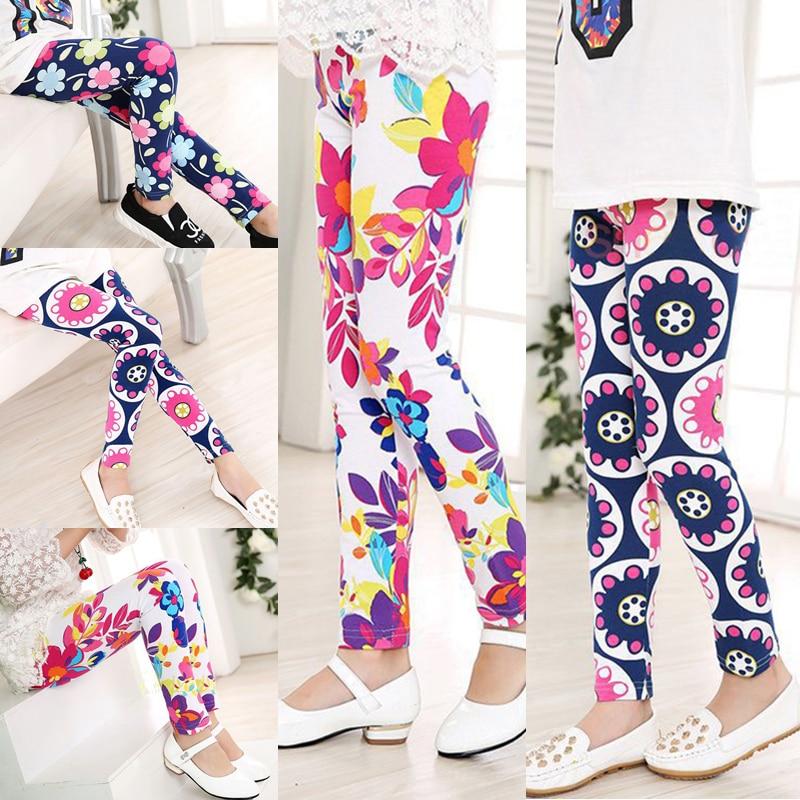 Girls Flower Print Leggings