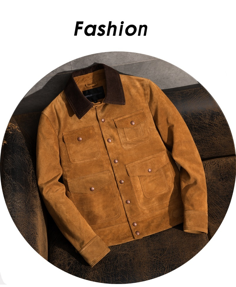 Free Shipping.plus Brand Classic Men Genuine Leather Jacket,casual Style Leather Jackets,Vintage Cow Suede Coat,quality Sales