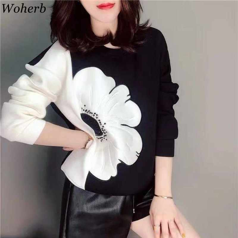 Woherb Korean Fashion New Hoodies Women O Neck Long Sleeve Contrast Color Sweatshirt Casual Loose Ladies Tops Pullovers 90776