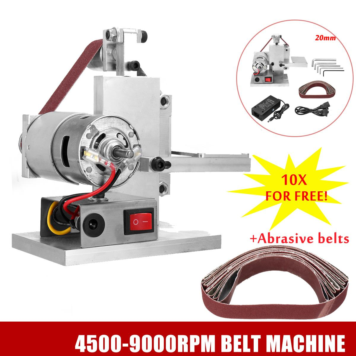 110-240V DIY Mini Belt Sander Knife Edge Sharpener Grinding Polishing Machine 60/80/120/150/180/240/320/400/600/800 Mesh