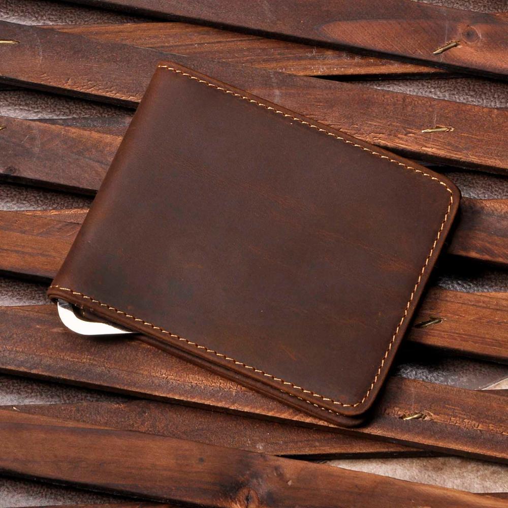 Homme en cuir véritable Design mode mince portefeuille avant poche pince à billets Mini Bill sac à main pour hommes 1055-b