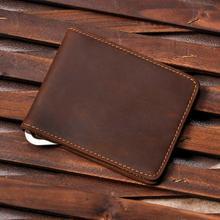 Purse Wallet Money-Clip Bill Genuine-Leather Fashion Front-Pocket Design Male Mini