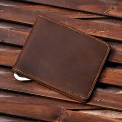 Male Genuine Leather Design Fashion  Slim Wallet Front Pocket Money Clip Mini Bill Purse For Men 1055-b