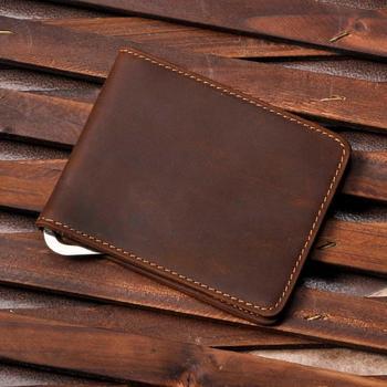 Male Genuine Leather Design Fashion  Slim Wallet Front Pocket Money Clip Mini Bill Purse For Men 1055-b fashion stripes and color matching design money clip for men