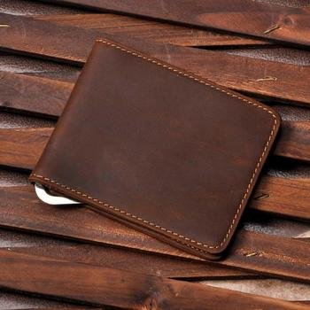 Male Genuine Leather Design Fashion Slim Wallet Front Pocket Money Clip Mini Bill Purse For Men 1055-b