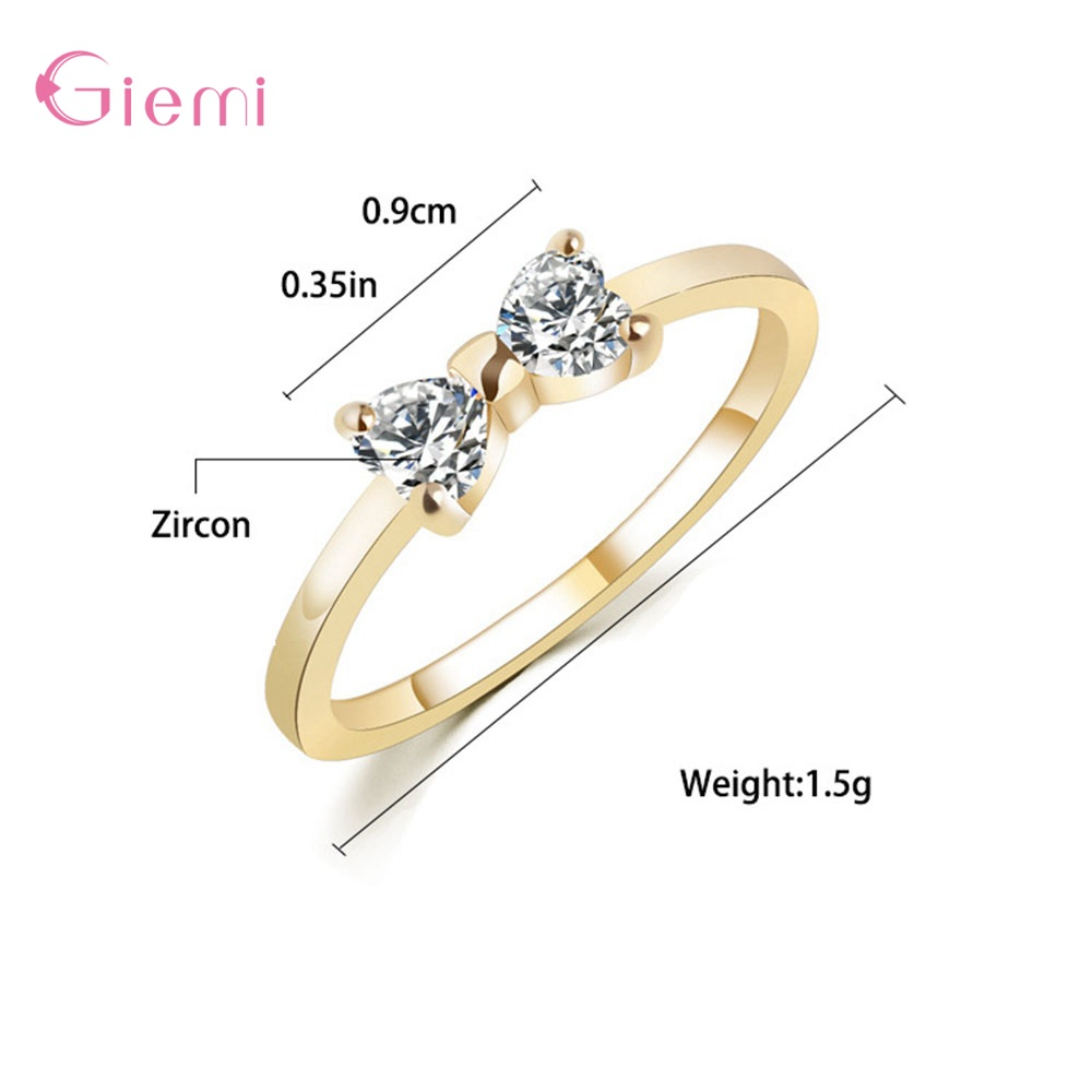 New Fashion Slim Finger Rings 925 Sterling Silver Bow Shape Cubic Zirconia Wedding/Engagement Party Rings Wholesale/Retail 1