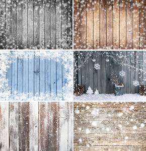 Christmas Backdrop Wood Board Light Winter Snow Gift Stars Bell Vinyl Photography Background Photo Studio Photophone
