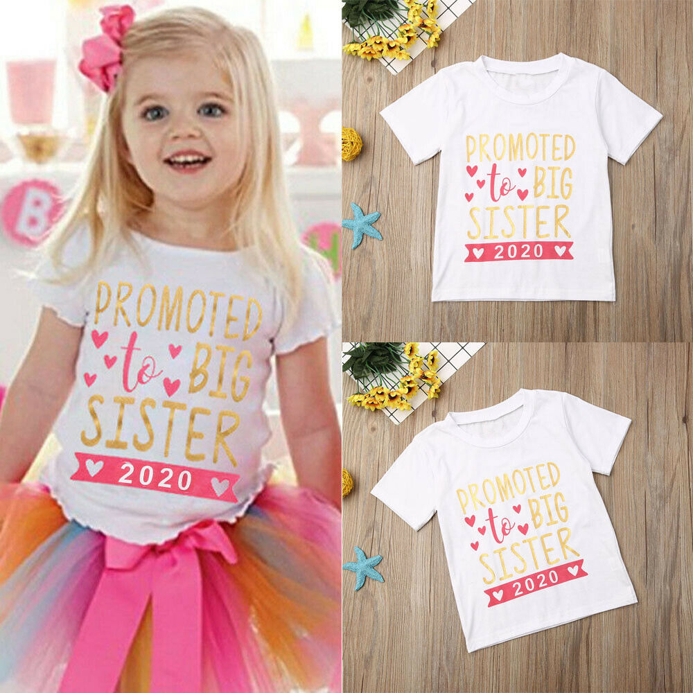 Kids Tshirt Summer Fashion Children Tshirt Short Sleeves Loose T Shirt Tops Promoted To Big Sister 2020 Letter Print Kids Cloth