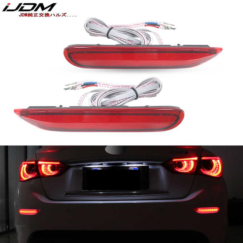 Luces LED reflectoras para parachoques iJDM para Infiniti Q50 QX56 QX60 QX80 Nissan Pathfinder Rogue, función como cola, freno y faro antiniebla trasero