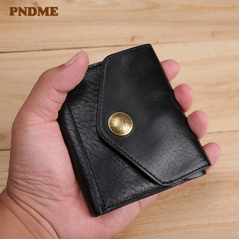 PNDME vintage genuine leather men women small wallet casual simple real cowhide multi-function ID credit card holder coin purse pndme vintage crazy horse cowhide men women long wallet simple casual genuine leather clutch bag coin purses id holders