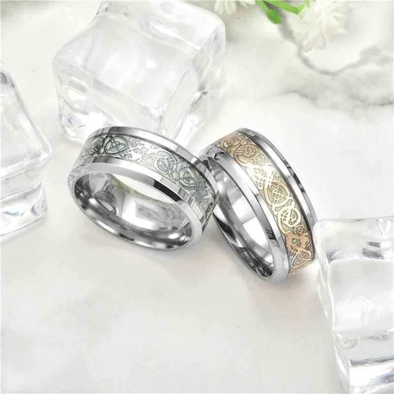 Anel masculino anel de dragão anel luminoso brilhante no escuro casal anéis jóias para homem e mulher T-001