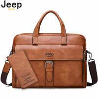 JEEP BULUO, новинка, мужской деловой портфель, сумка, высокое качество, дорожная сумка для мужчин, спилок, кожа, 14 дюймов, для ноутбука, сумки-мессе...
