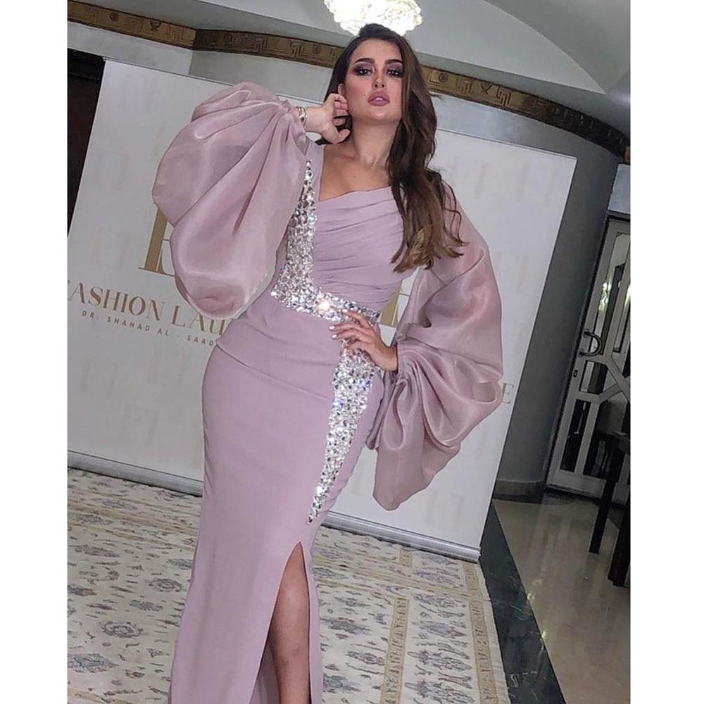 Saudi Arabia 2020 Evening Dress Sexy Mermaid Slits Long Sleeves Sparkle Crystals Formal Evening Gown Vestidos De Fiesta De Noche