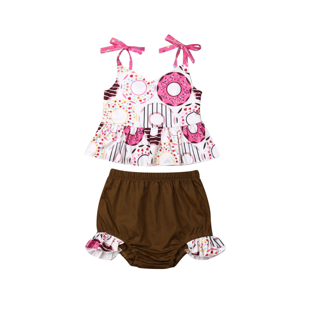 MIOIM 2PCS Infant Toddler Baby Girls Summer Clothes Set Tassel Crop Tops Shorts Bottom Outfits