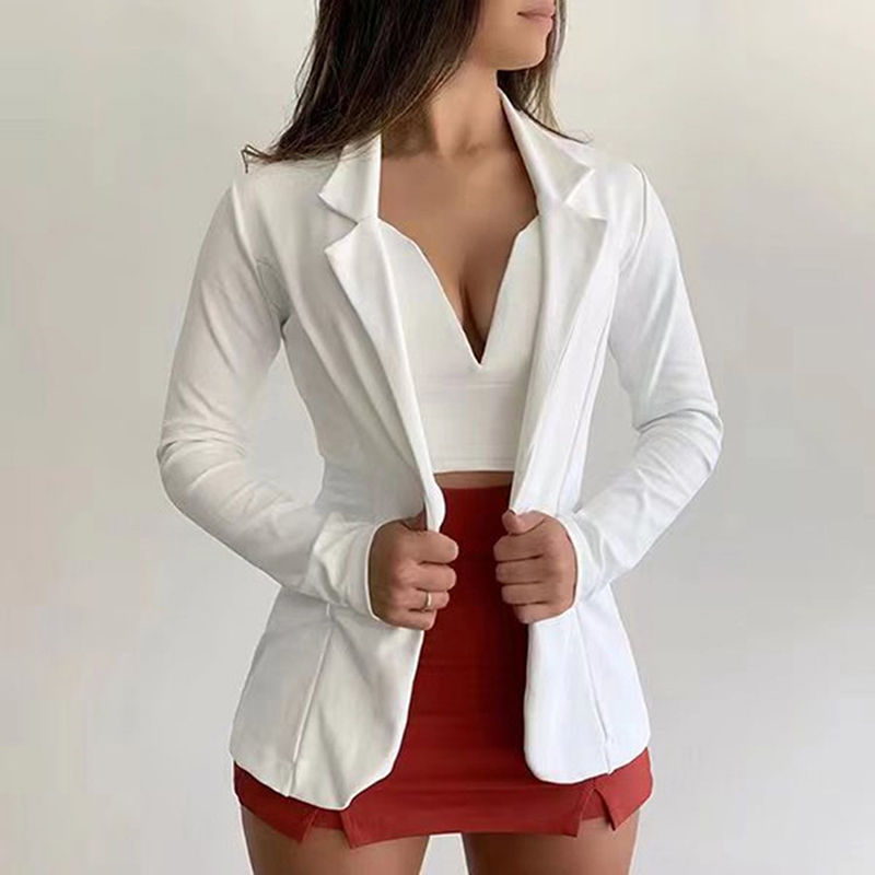 Slim Office Lady Jacket Female Tops Suit Blazer Femme Jackets Women's Blazer 2020 White Long Sleeve Blazers Jackets Coat