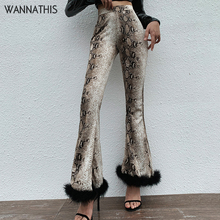 Wannathis Snakeskin Pants Flare Pants Spliced Fluffy Hairy Party Trousers Loose Sexy Autumn Winter New Hight Waist Wide leg Pant