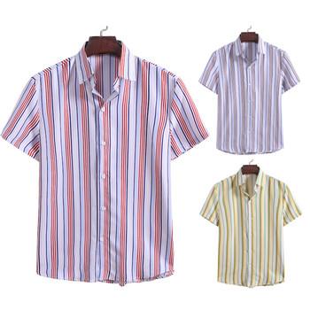 Męskie letnie modne w paski drukowane koszulki z krótkim rękawem wygodny Top 2020 letnie modne koszule bluzka z krótkim rękawem dla mężczyzn tanie i dobre opinie MIARHB Poliester Skręcić w dół kołnierz Pojedyncze piersi REGULAR 0528 Suknem Na co dzień