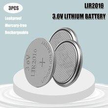 3 pçs 3.6v lir lir 2016 bateria de lítio recarregável para controle remoto relógio computador placa-mãe botão célula cr2016