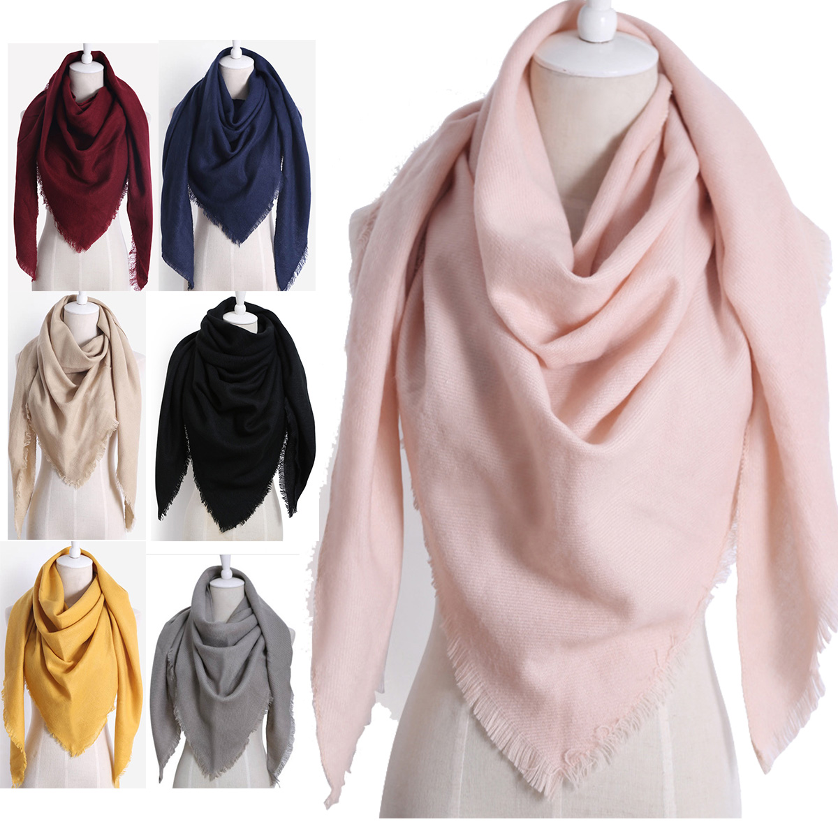 2020 New Fashion Winter Warm Triangle Scarf For Women Pashmina Shawl Cashmere Plaid Scarves Blanket  Shawls scarf female stole