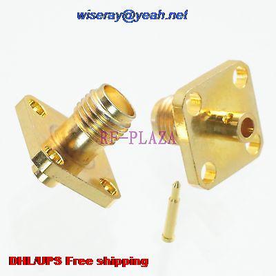 DHL/EMS 200pcs Connector RPSMA Female 4-holes Flange Solder Semi-rigid RG405 0.086
