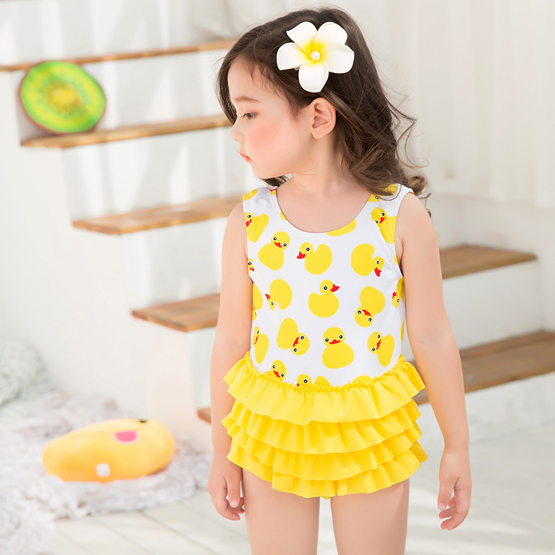 KID'S Swimwear Small Yellow Duck GIRL'S One-piece Swimming Suit South Korea Cartoon Printed Baby Girls Multilayer Skirt Hot Spri