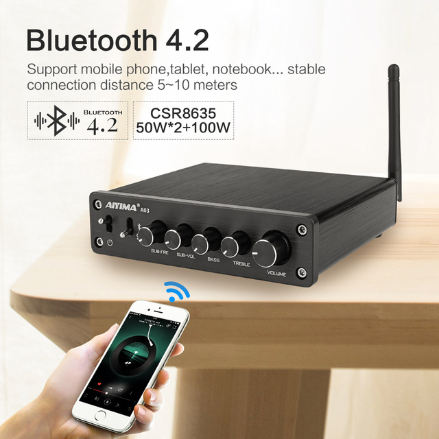 AIYIMA TPA3116 Subwoofer Bluetooth Amplifier HiFi TPA3116D2 2.1 Channel Digital Audio Amplifiers 50W*2+100W DC12-24V