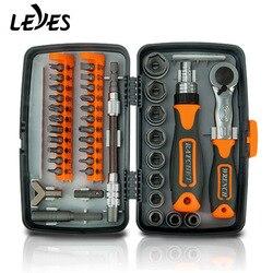 38 In 1 Handgereedschap Set Box Mini Schroevendraaier Bit Auto Repair Tool Professional Dopsleutel Ratels Combo Kit Multitool voor Auto