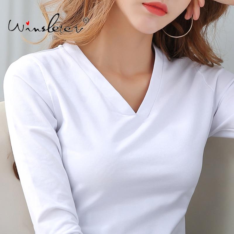Baumwolle Solide T-shirt Frauen V-ausschnitt Langarm Frühling Herbst Tops T-stück Beiläufige Bodenbildung Plus Größe S-3XL футболка T01304B