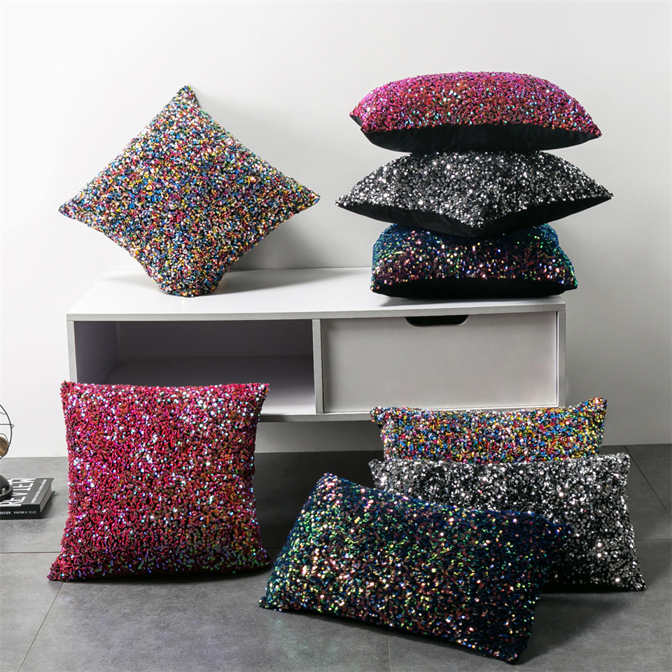 Luxury Sequin Cushion Cover Decorative Cushions For Sofa Colorful Sequin <font><b>Pillow</b></font> <font><b>Case</b></font> Home Decor Throw <font><b>Pillow</b></font> Cover <font><b>30*50</b></font>/45*45cm image